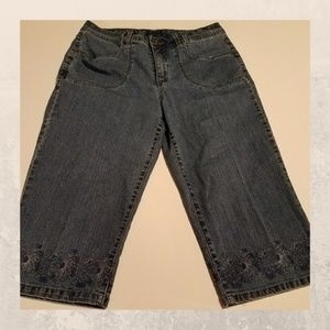 Pants - Flower Embroidered Blue Jean Capri pants size 12